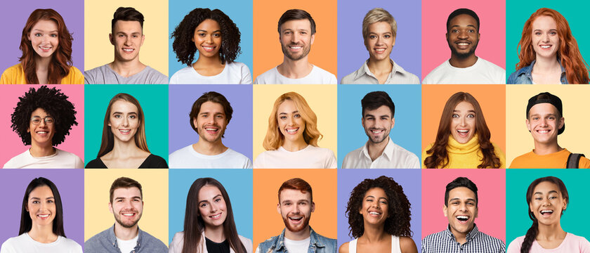 Composite set of diverse young people expressing positive emotions