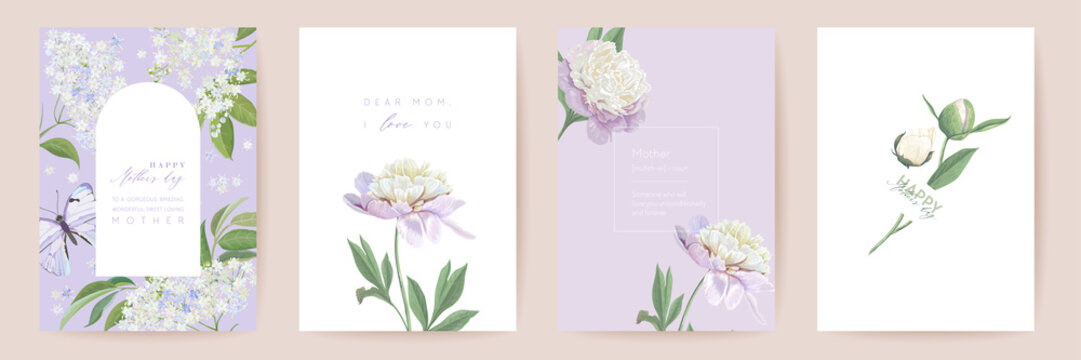 Happy Mothers day watercolor card set. Greeting mom minimal postcard design. Vector peony flowers frame