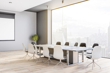 SIde view on big conference table in modern meeting room on high floor with great city view through transparent wall, wooden floor and tree in a flowerpot in the corner