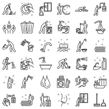 Cleaning and disinfection icon set. Washing linen, picking up garbage, wash his hands. Simple vector icons, isolated, Outline, for web application. Concept of purity and freshness.