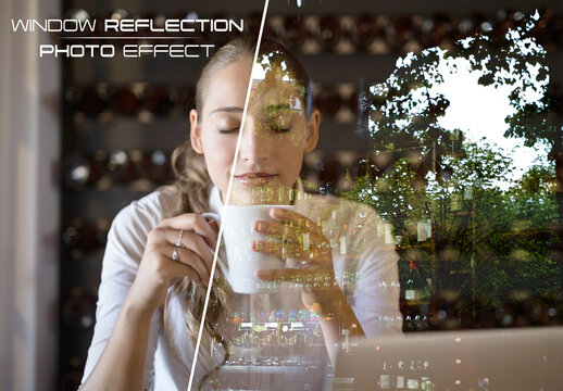 Window Glass Reflection Photo Effect Mockup