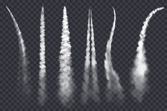 Rocket smoke or jet airplane vector trails isolated on transparent background. 3d realistic white clouds and contrails of plane or spaceship, aircraft and spacecraft condensation trails design