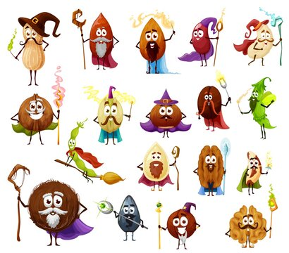 Nut, seed and bean magician and wizards cartoon vector characters cute witch and fairy. Almond, peanut, walnut and pistachio, cashew, hazelnut and coconut, coffee and soy beans with magic wands, hats