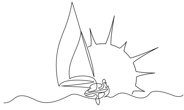 Sailing boat on wave of sea with Sun. Continuous one line drawing