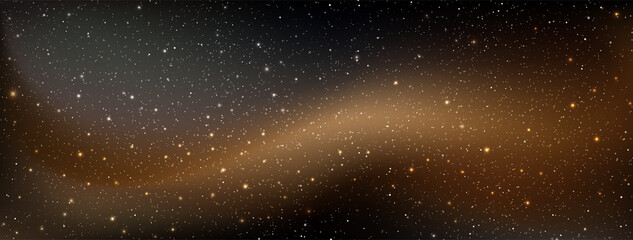 Fototapeta A high quality astrology horizontal background galaxy illustration with nebula cosmos with stardust in deep universe and bright shining stars illuminating the space.