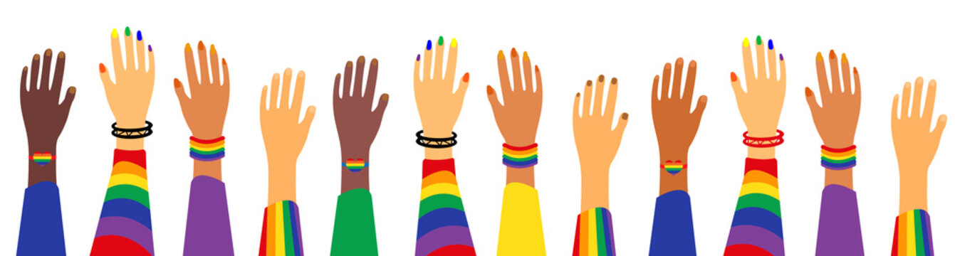 LGBT Pride Month holiday, People. Hands up gay parade. Vector illustration