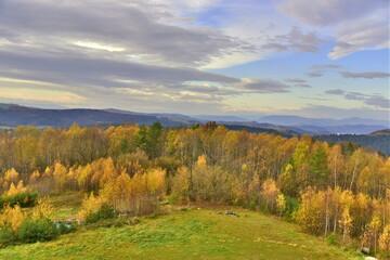 Pogórze Rożnowskie, Polska, szlaki górskie, jesień