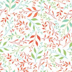 Fototapeta Spring sprouts pattern seamless design. Cute