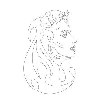 Line art woman face drawing. Modern art girl head .One line face.Vector illustration .