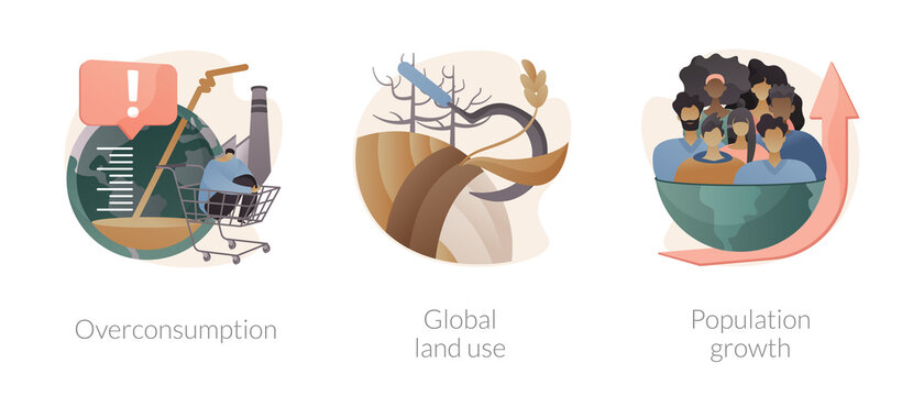 Global environmental data abstract concept vector illustrations.