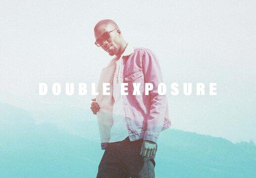 Double Exposure Grain Photo Effect Mockup