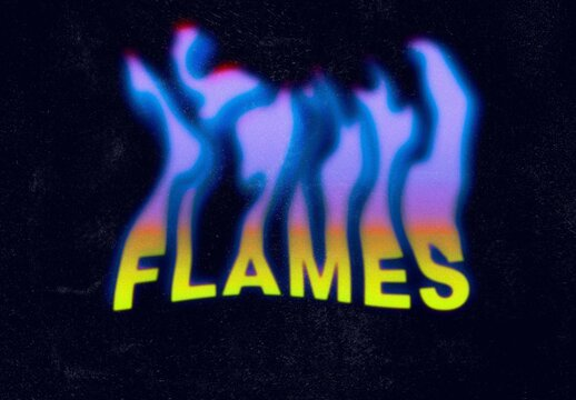 Flame on Artistic Text Effect Mockup