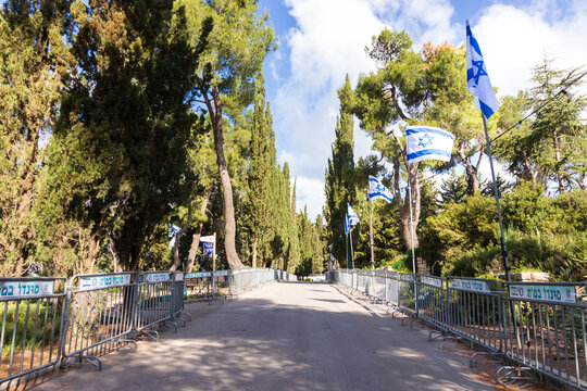 11-04-2021. jerusalem-israel. Mount Herzl Park, decorated for official ceremonies on Israeli Independence Day
