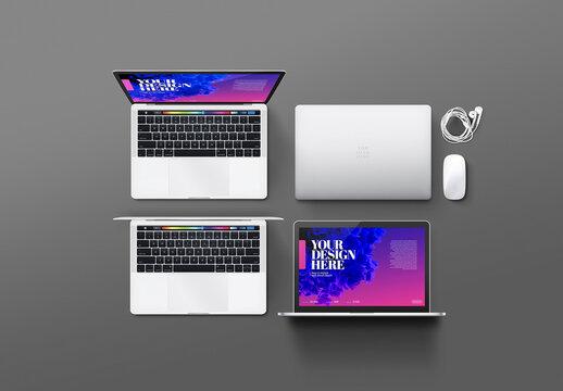 Laptop Mockup - Mouse, Earphones, Set