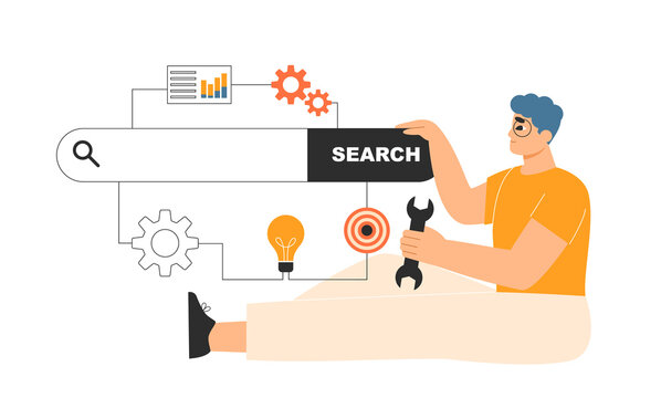 Search engine optimization concept. SEO specialist using tools to improve SERP results, drive Internet traffic. Online ranking, website visibility, promotion. Isolated flat vector illustration