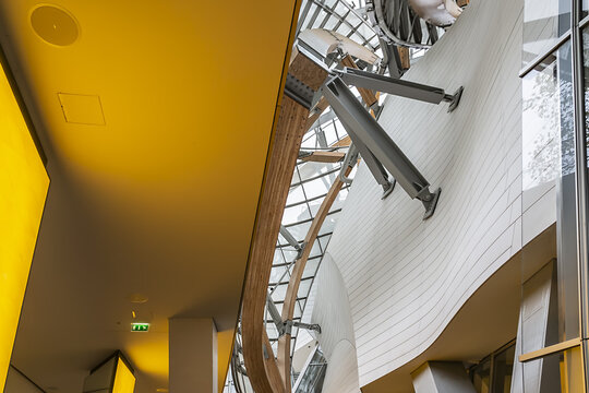 Interior of Louis Vuitton Foundation (2014). Louis Vuitton Foundation - art museum and cultural center. PARIS, FRANCE. November 24, 2015.
