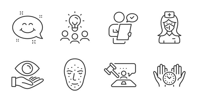 Safe time, Smile chat and Face biometrics line icons set. Business idea, Nurse and Judge hammer signs. Customer survey, Health eye symbols. Management, Happy emoticon, Facial recognition. Vector