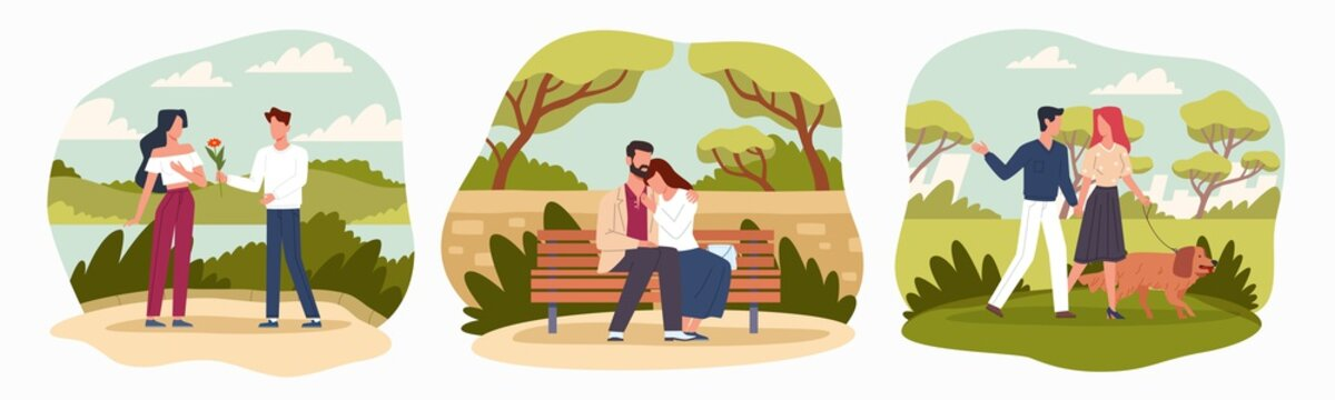 Romantic meetings in nature. People young couple characters rest outdoor, couples in love, walking dog, first date, man and woman hugs on bench. Love and relationship vector cartoon set