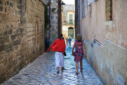 Grupa przyjaciół w ciepły, letni, wakacyjny dzień zwiedza stare portowe miasto i zamek .