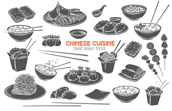 Chinese cuisine vector monochrome glyph isolated cut icon set. Asian food engraved Mapo tofu, rice, Dragons beard candy and tanghulu. Wok, peking duck, dumplings, wonton, fried noodles and rolls.