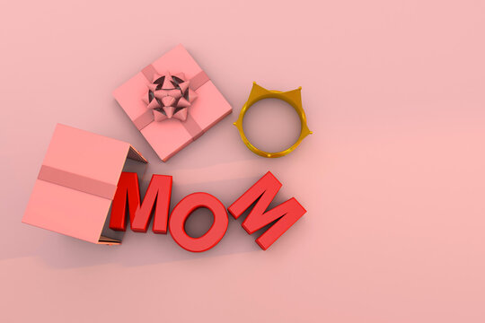 Surprise for mothers day. text mom 3D render. A gift box with a crown on pink background