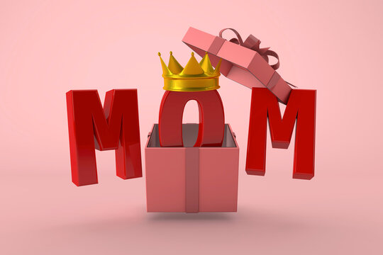 Happy Mothers Day. surprise for my mom with pink gift and gold crown. 3D Render