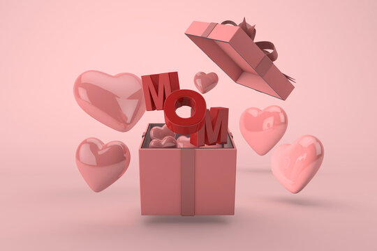 Happy mother's day, gift box celebration with mom text and floating hearts on pink background. 3D Render