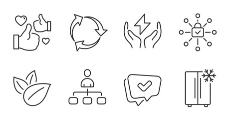 Fototapeta Approved, Like and Management line icons set. Security lock, Recycle and Organic product signs. Refrigerator, Safe energy symbols. Chat message, Thumbs up, Agent. Technology set. Vector