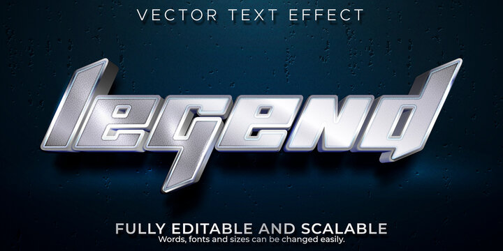 Metallic editable text effect, legend and shiny text style