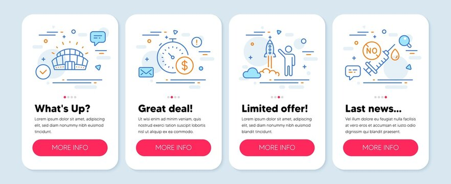 Set of line icons, such as Last minute, Launch project, Sports stadium symbols. Mobile app mockup banners. Coronavirus vaccine line icons. Buying timer, Business innovation, Championship arena. Vector