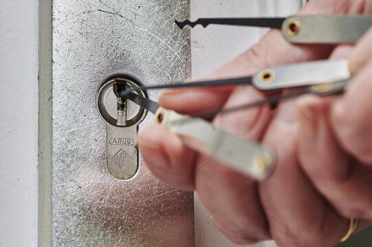 BERL, GERMANY - Apr 10, 2021: Equipment to open locks.