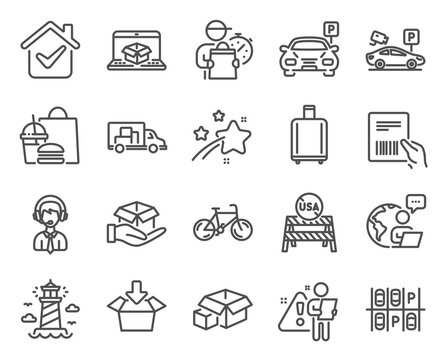 Transportation icons set. Included icon as Parking security, Get box, Truck transport signs. Parking, Shipping support, Baggage reclaim symbols. Packing boxes, Hold box, Online delivery. Vector