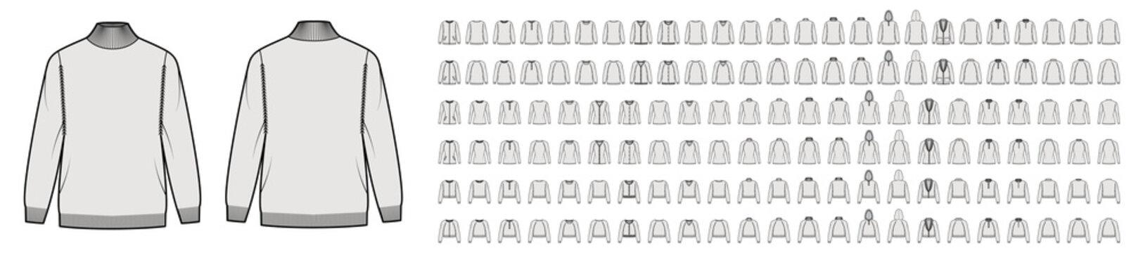 Set of Sweaters, cardigans technical fashion illustration with hood long raglan sleeves, waist, hip length, knit rib trim. Flat jumpers apparel front, back grey color. Women men unisex CAD mockup