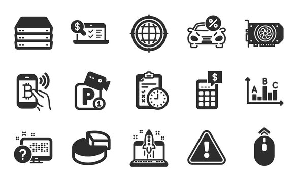 Online accounting, Servers and Survey results icons simple set. Pie chart, Parking security and Start business signs. Car leasing, Swipe up and Exam time symbols. Flat icons set. Vector
