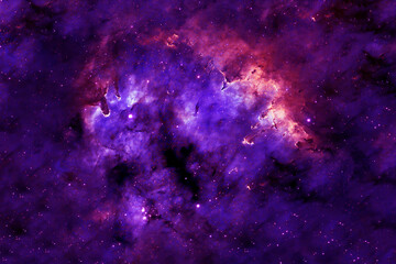 Beautiful colored galaxy. Blue space with stars. Elements of this image were furnished by NASA.