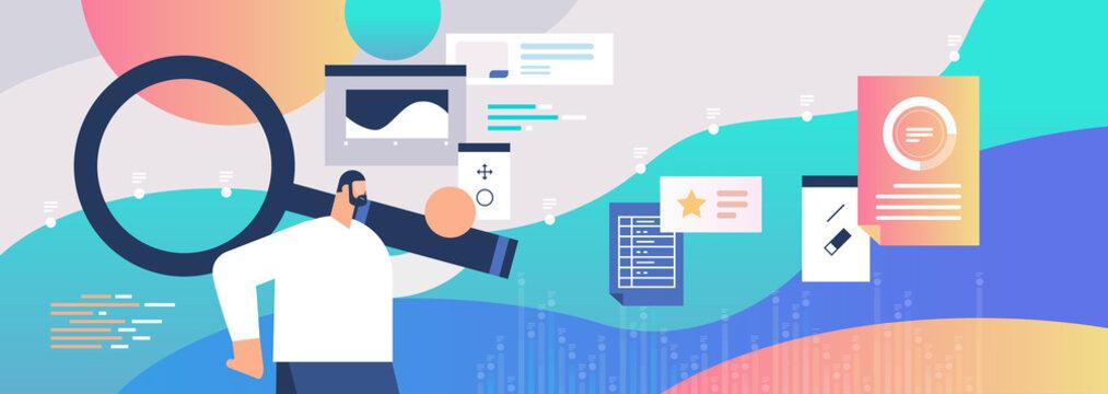 businessman using magnifying glass web page data analyzing marketing concept horizontal