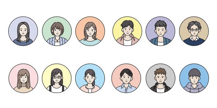 若い男女 人々 大学生 アイコン セット イラスト素材