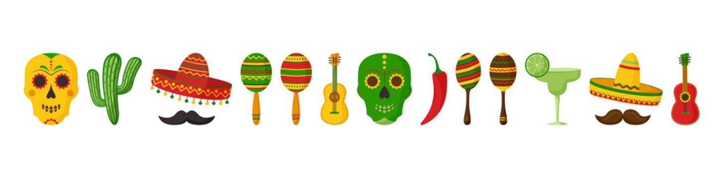 Cinco de Mayo vector celebration, mexican icon set, collection design elements. Guitars, maracas, pepper, mustache, skulls, sombrero, cactus and decoration. Cartoon illustration