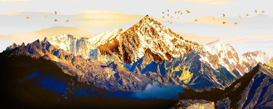 3d illustration of majestic mountain image