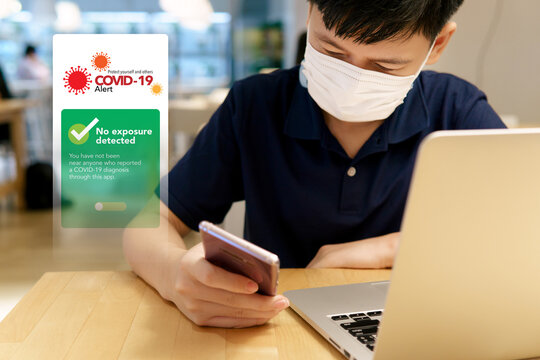"""Covid 19 Alert application on devices concept. A smart looking teenager boy checking on digital contact-tracing apps on his smartphone and it's show """"No exposure detected"""". Pandemic, Healthcare Tech."""