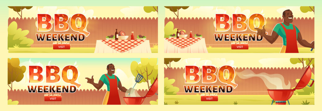 BBQ weekend flyers. Invitation banner to barbecue party with black man cooks meat on grill. Vector posters set with cartoon illustration of picnic with barbeque on summer lawn in park or garden