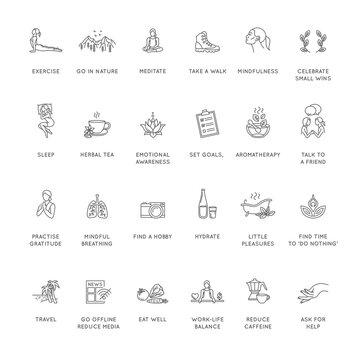 Mental health, wellness, psychological hygiene thin line style vector icon set