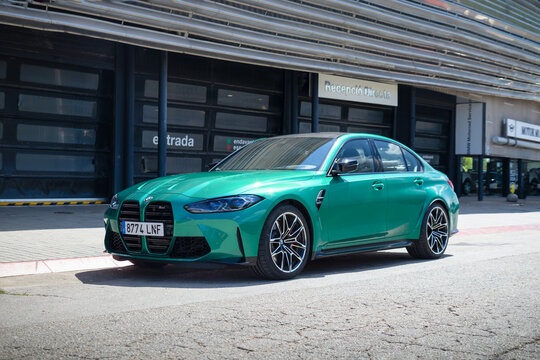 SABADELL, SPAIN-APRIL 12, 2021: 2021 BMW M3 (G80) at city streets, last generation BMW M3 with the BMW S58 turbocharged straight-six engine