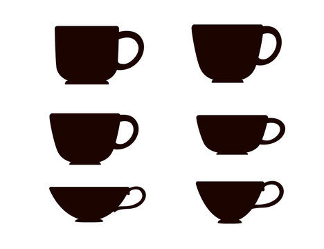 Black silhouette set tea or coffee cup vector illustration on white background