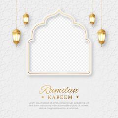 Fototapeta Ramadan Kareem Islamic social media post with empty space for photo, Ramadan Kareem Islamic Ornament Lantern Background