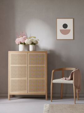 3d rendering of a minimal modern Scandinavian furnished relaxed space with earthy tones and a sideboard with cane and an armchair