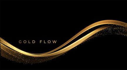 Fototapeta Abstract Gold Waves. Shiny golden moving lines design element with glitter effect on dark background for greeting card and disqount voucher.