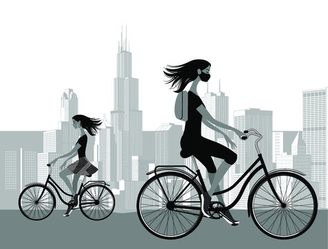 Young girl on a bike the background of the modern city. Black and white vector illustration.