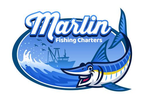 cartoon marlin fishing character