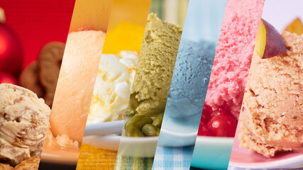 Colorful variety of ice cream and ice cream flavors as a rainbow